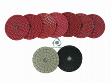 Bright red wet polishing pads